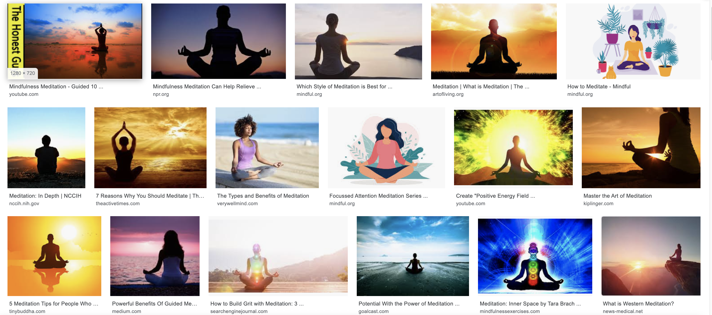 Google's result for meditation